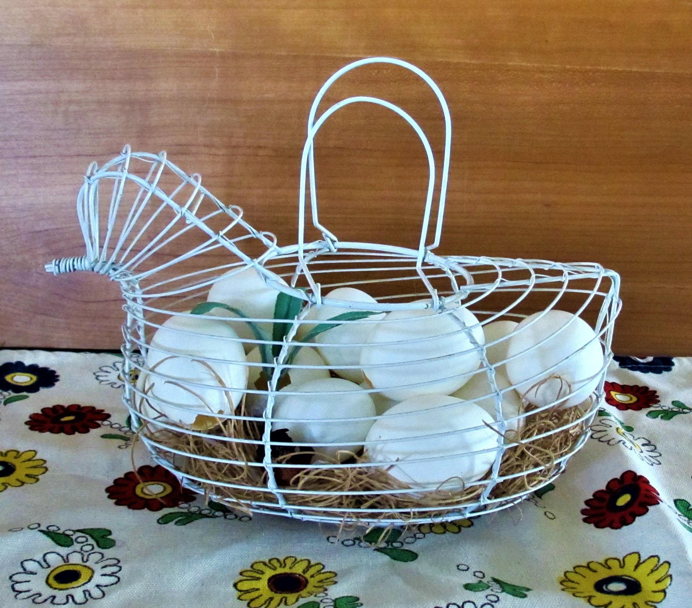 Chicken Shaped Egg Basket White Wire vintage