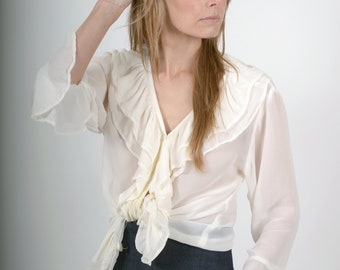 90s Sheer White Ruffled Top / Poet Blouse / V-neckline Button Down / Ruffle Collar and Bell Sleeves / fits Small - Medium