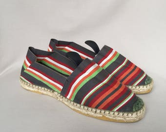 Vintage espadrilles / slides / summer shoes / flats / slip ons / canvas shoes / handmade espadrilles / slip on shoes / made in France