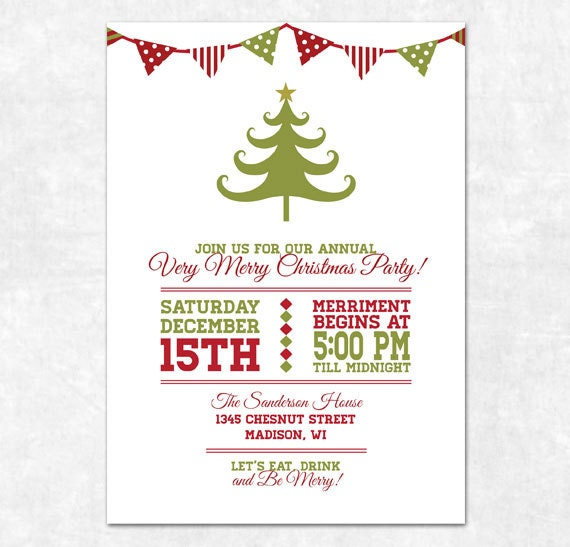 items similar to printable christmas invitation holiday bunting and christmas tree on etsy. Black Bedroom Furniture Sets. Home Design Ideas