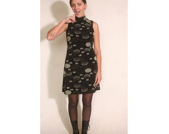 Vintage 90s vogue sleeveless turtleneck stretch circle dress size M
