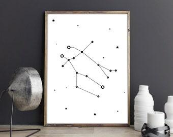 Gemini constallation art, Zodiac Gemini print, Printable wall art, Minimalist poster, Constellation print, Zodiac art, Instant download