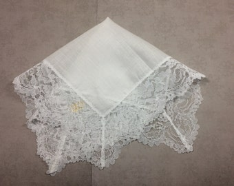 "Vintage Hankie White w/Lace, Cotton 12"", Women's Handkerchief"
