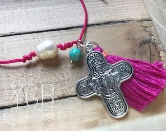 Cross and Tassel Bracelet
