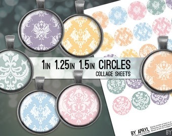 Damask Pastel 1 inch 1.25 and 1.5 Circles Digital Collage Sheet for Glass and Resin Pendants Bottle Caps Digital Download JPG