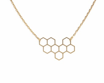 "ELEMENTS - Gold plated honeycomb necklace ""Ruche"" (ENC03)"