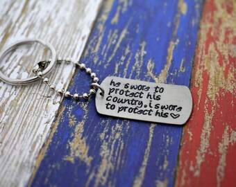 """Hand Stamped """"he swore to protect his country, i swore to protect his heart"""" Dog Tag Keychain *Military Girlfriend**Personalized Dog Tag*"""