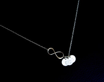 Family necklace , Infinity with THREE Initial disc necklace - Sterling Silver , everyday wear, perfect gifts , birthday , Mother's Day gifts
