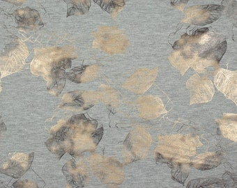 Grey French Terry with gold metallic roses