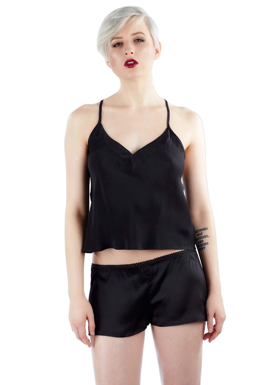 Black silk camisole silk cami Natasha camisole black
