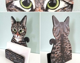 Cat Theme Mail Holder - Your Cat or Breed - Cat Desk Organizer - Cat Mail Holder - Letter Holder - Desk Accessories - Office Decor
