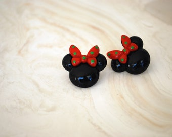Minnie Mouse Earrings -- Minnie Mouse, Green and Red Bow Minnie Mouse Earrings, Big Minnie Mouse Earrings