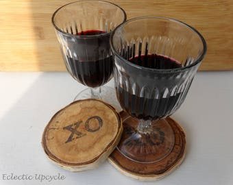 XO Coasters Made with Reclaimed Birch Wood