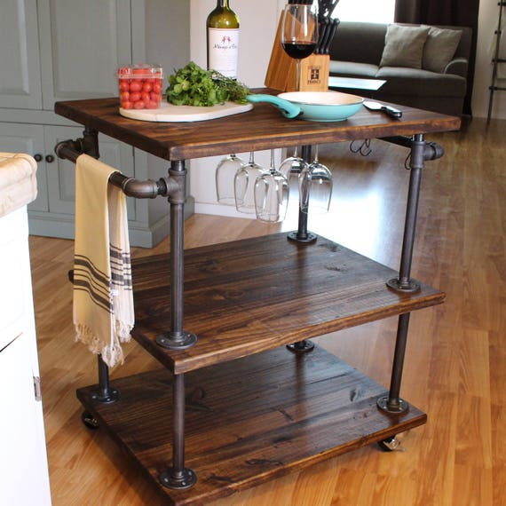 Amazing Rustic Kitchen Island Diy Ideas 26: Rustic Wine Cart 3 Tiered Industrial Kitchen Cart Kitchen