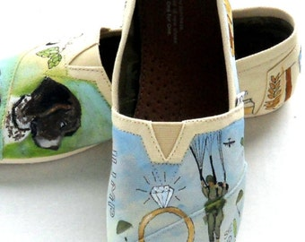 Wedding Shoes, Bride's Love Story shoes, Military Wedding Shoes, Gift for the Bride, Army Bride, Army Wedding, Military Wedding, Custom TOMS