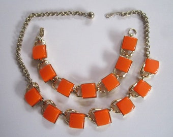 Vintage Mid Century Modern Orange Goldtone Link Choker Necklace and Matching Bracelet