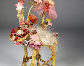 """Stunning fairy furniture, fairy chair with side table, """"The Pink Princess Fairy Throne"""", made from natural materials, soft, lovely, 10"""" tall"""