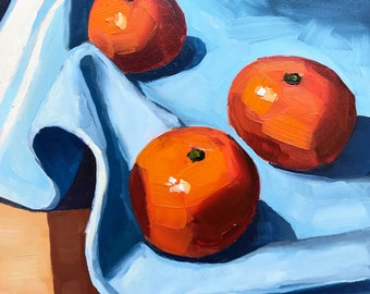 Still life painting- Tangerines on Blue - 6x6  Fruit oil painting by Sharon Schock