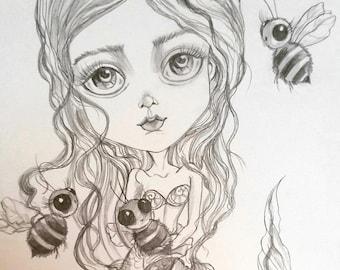 BeeMaid Black and White Big Eye Low Brow Pop Surrealism Art Print by Leslie Mehl Art