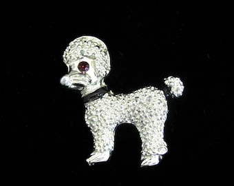 Vintage Dog Pin, Poodle Rhinestone Puppy, Figural Brooch, Silvertone Dog Pin, Vintage Pin, Puppy Dog Pin, Rhinestone Dog