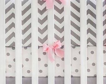 Gray & Pink Chevron Crib Baby Bedding Set