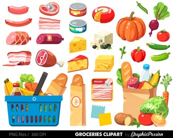 Grocery Clipart Shopping clipart Food Clipart Dinner Clipart Cheese clipart Salami Clipart Grocery Store Clipart Grocery Shopping image