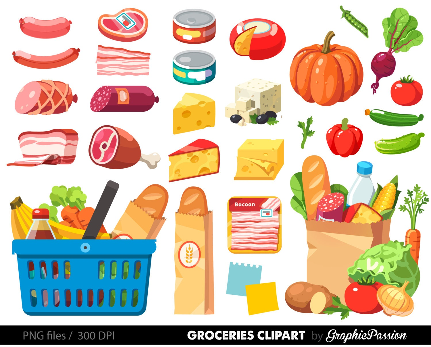 grocery clipart shopping clipart food clipart dinner clipart rh etsy com clipart food corridor clipart food cart