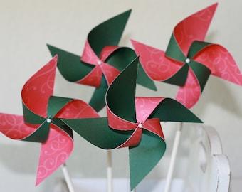 PINWHEELS Holiday Party favor Pinwheels  -12 Mini Pinwheels (Custom orders welcomed)