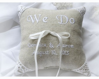 Personalized Linen Wedding ring pillow , ring pillow, ring bearer pillow with Custom embroidery, Ring Pillow , wedding pillow(R61)