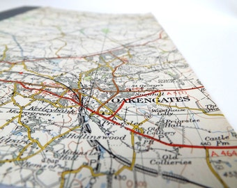 Stafford 1953 #3 - Oakengates - A5 Recycled Vintage Map Notebook / Journal / Sketchbook with Upcycled Blank Pages
