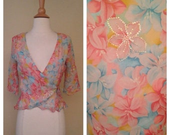 SHOP SALE Beautiful Sheer Floral Wrap Bolero Cover Up Sweater with Sequin Detail Pastel Pink Blue 40s 50s 60s Style Rockabilly Pinup Size Sm