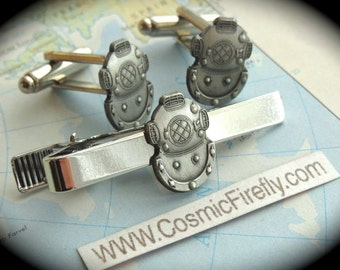 Steampunk Cufflinks Set Diving Helmet Cufflinks Diving Tie Bar Men's Cufflinks Cosmic Fiefly Original Design