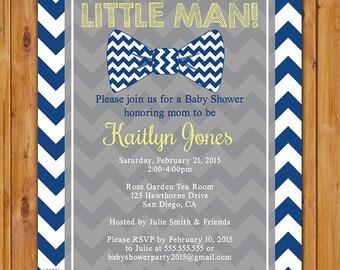 Little Man Bow Tie Baby Boy Shower Invite Yellow Grey Navy Blue Chevron DIY Invitation 5x7 Digital JPG (404)