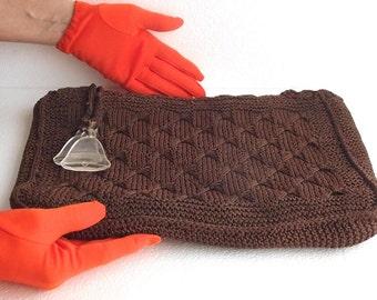 50s Clutch Vintage Crochet Brown Clutch M.E. Product