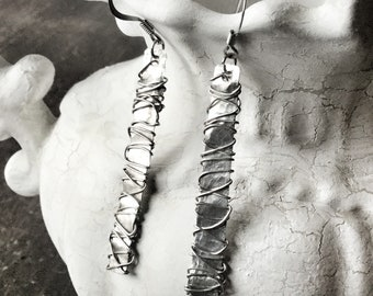 Hammered wire wrapped long earrings