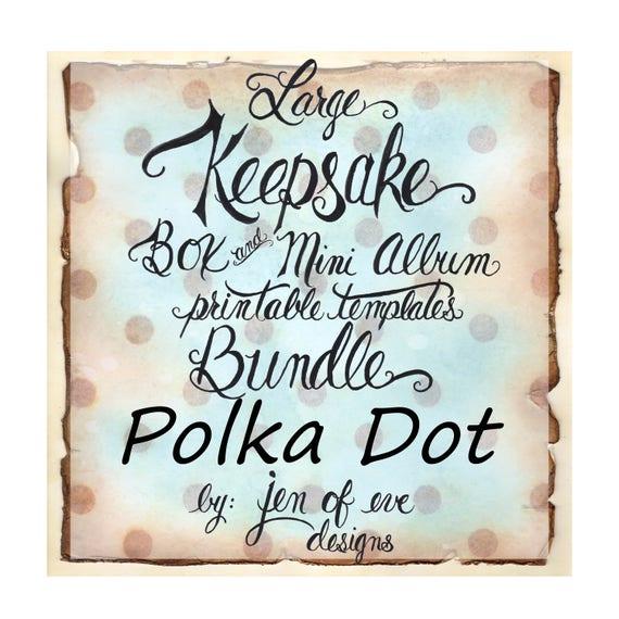 LARGE Keepsake Box & Mini Album Printable Template in Polka Dot and Plain