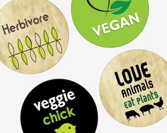 Vegetarian and Vegan Love-Large Round Images-2.25 Inch(57mm)-Great forPocket Mirrors,Coasters,Buttons,Magnets-Digital Sheet-Instant Download