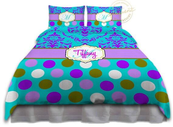 Turquoise & Purple Duvet Cover Polka Dot Pretty Damask Teen