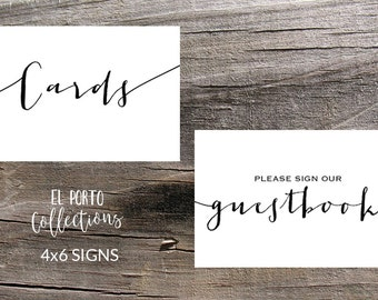 Cards & Please Sign Our Guestbook | Sign Set, 4x6 Instant Printable Wedding Download