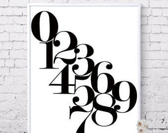 Number art, Numbers, Typo, 1 2 3 4 5 6 7 8 9 0, Math prints, Numbers posters, Typographic Poster, Digital prints, Instant download