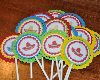 Fiesta Cupcake Toppers. Cinco De Mayo. Sombrero. Cupcake Toppers. Set of 12