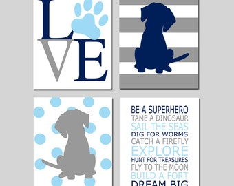 Baby Boy Nursery Art - Love Paw Print, Stripe Puppy Dogs Polka Dots, Be a Superhero Quote - Set of Four 8x10 Prints - CHOOSE YOUR COLORS