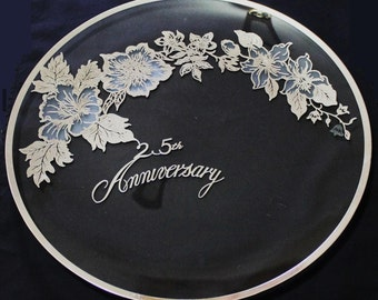 25th Anniversary Silver Overlay Glass Serving Tray