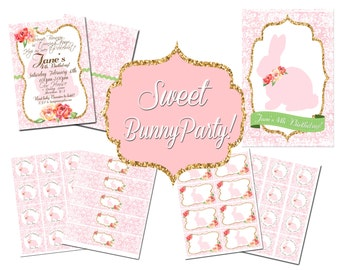 Bunny Party Package - PRINTABLE - Vintage Bunny Birthday Package - Pink, Green and Gold