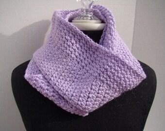 Lavender violet handmade crochet infinity scarf - READY TO SHIP