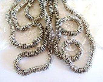 Rhodium Plated Kette Stahl Net 6mm Runde Kette Ideal für Armbänder oder Ketten-Sold in 7 1/2 Zoll / 19cm (1 Stück)
