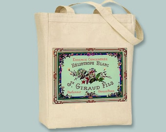 Beautiful Vintage French Perfume Label BLACK or NATURAL Canvas Tote -- selection of sizes available.