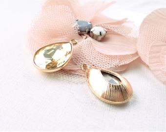 gold charm, gold charm, gold pendant, gold drop pearl, pearl drop glass, gold facet glass, gold drop pendant, x 2 topaz drop pendant,