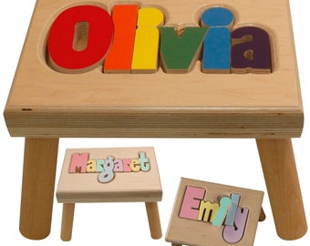 "Natural Name Puzzle Stool (""FREE"" Shipping) (Put Child's Name in Notes to Seller on Checkout Page)"