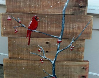 Cardinal on Branch, Cherry Tree, Christmas Cardinal, Cardinal, Winter, Snow. Bird on Branch. Christmas Pallet, Winter Pallet